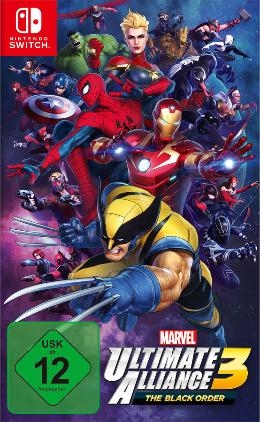 Carátula o portada Británica del juego Marvel Ultimate Alliance 3: The Black Order para Nintendo Switch