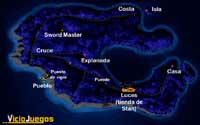 Aquí tienes el mapa de Mêlée Island para que te orientes mejor en la guía