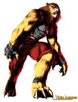 León cincuentón antropomórfico con traje de cuero apretado. Asusta