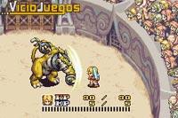 Nuestro protagonista luchando contra una terrible bestia en un coliseo.