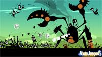 Los Patapon luchando contra un cangrejo gigante