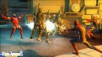 Iron Man, Spiderman y Dead Pool curtiendo el lomo a varios soldados