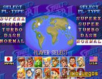 La pantalla de selección con los diferentes luchadores seleccionables según el juego