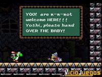 Aquí tenemos a Kamek tratando de intimidar a Yoshi