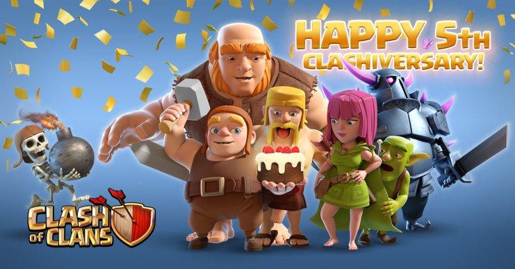 Clash of Clans celebra su quinto aniversario con una jubilación